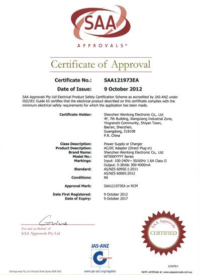 Wentong Electronics Australia SAA Certification